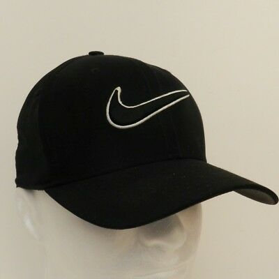 Nike Golf Black Large Embroidered Swoosh Front Cap Stretch Fitted S/M Unique