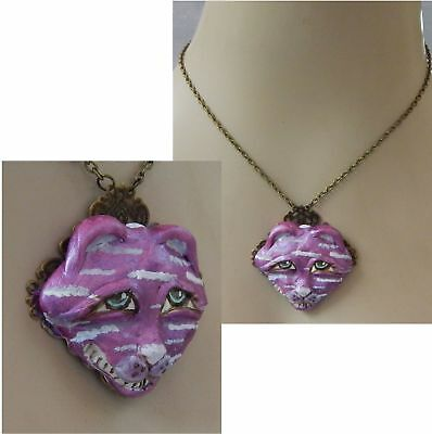Cheshire Cat Alice in Wonderland Pendant Necklace Handmade NEW Sculpted NEW
