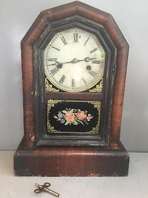Antique New Haven Clock Co. Conneticut Gothic Eight Day Mantle w Key WORKING