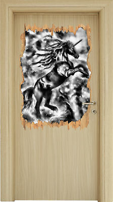 Monocrome Black Licorne - Look 3d-look Holzbruch Sticker Mural