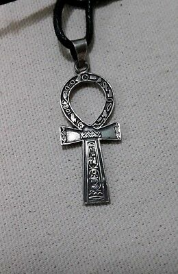 Vintage 1980's Sterling Silver Ancient Egyptian Ankh Cross Pendant heiroglyphics