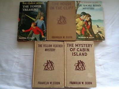 Lot of 5 Vintage Hardy Boys by Franklin Dixon, 3 Brown tweed, 2 dustjackets, HCs