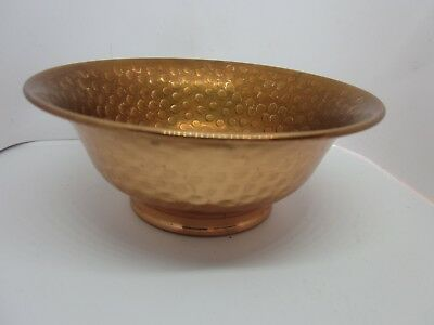 """Vintage Copper Bowl Planter Hammered Plate Footed Patina 5-1/8"""" x 2"""" VGVC"""