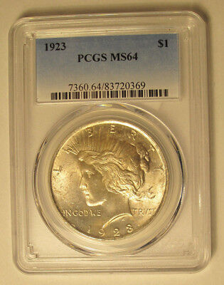 1923 Peace Silver Dollar Pcgs Ms 64