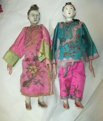 """2 Antique Chinese Opera Dolls, Silk Clothes, Embroidery, 10"""""""