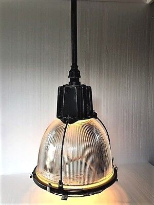 """Vintage Industrial Holophane Light Fixture~16"""" w Glass Shade~Salvaged~More Avail"""