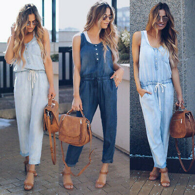 468e21591aa Women Casual Overalls Jumpsuit Strap Rompers Dungaree Denim Oversized  Trousers