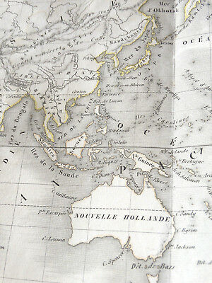 MAPS WORLD projection Mercator circa 1820 Engraving Thierry 60cm