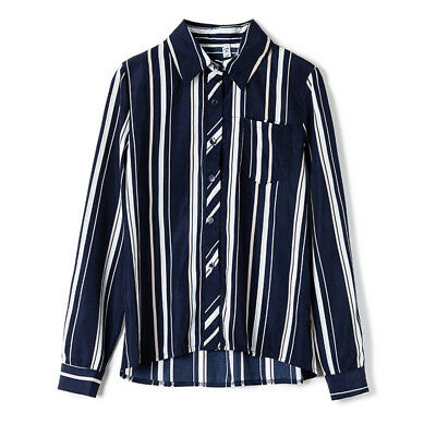 Women Striped Chiffon Button Down Blouse Long Sleeve Casual Office OL Shirt Tops
