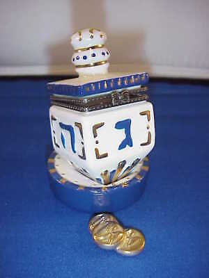 Porcelain Collectible Dreidel W/gold  Hinged Box . $$$$ Especial Price$$$$