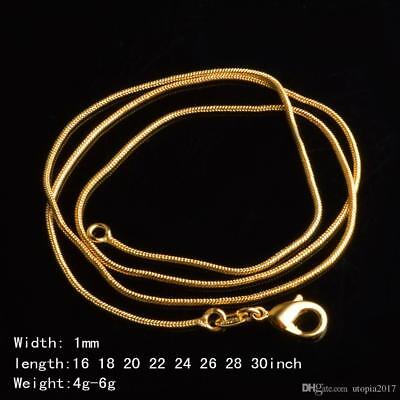 18k Gold Plated 925 Sterling Silver Diamond Cut Snake Chain Necklace