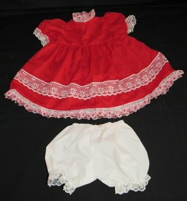 Vintage Homemade Red Baby Doll Dress and White Bloomer Underware