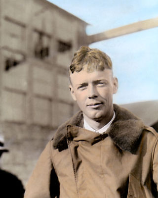 """CHARLES AUGUSTUS LINDBERGH AVIATION PIONEER 8x10"""" HAND COLOR TINTED PHOTOGRAPH"""