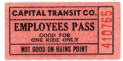 Orig  vintage, Capital Transit Co., Ticket: Employee's Pass, Good For One Ride