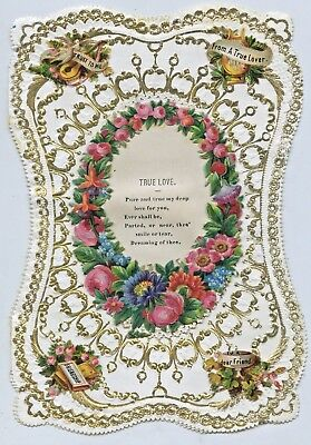 1860'S English Hand Made Valentine's Card Using Die Cut Scraps Gd Condition T41.