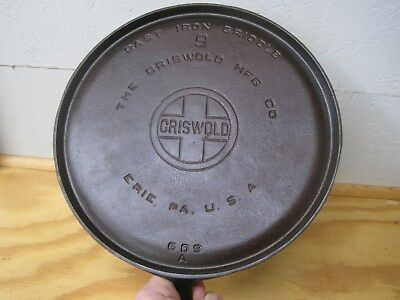 Griswold Cast Iron Flat Griddle Large Block Logo 609A  Erie PA Seasoned Nice