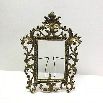 Antique Vintage Brass Ornate French Victorian Table Picture Frame
