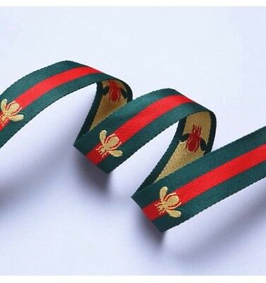 25mm Striped Red ,Green and Embroidered Gold Bee Grosgrain Ribbon. High Quality
