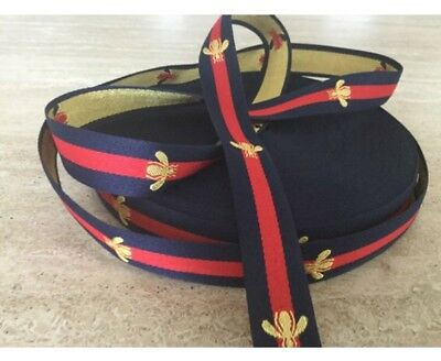 25mm Striped Red ,Blue and Embroidered Gold Bee Grosgrain Ribbon. High Quality