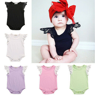 AU Newborn Baby Toddler Girl Lace Romper Bodysuit Jumpsuit Playsuit Outfit 0-24M