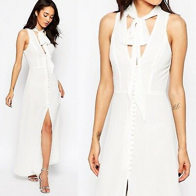 UK12 BNWT RRP £85 Jarlo Petite Quinn Maxi Dress White 70s neck tie Button Front