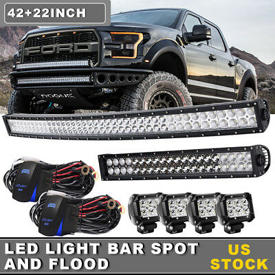 "42Inch LED Light Bar Combo + 22in +4"" CREE PODS OFFROAD SUV 4WD ATV FORD JEEP 20"