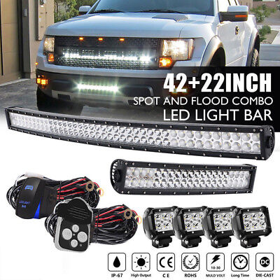 """42Inch LED Light Bar Combo + 22in +4"""" CREE PODS OFFROAD SUV 4WD UTV JEEP FOG 40"""""""