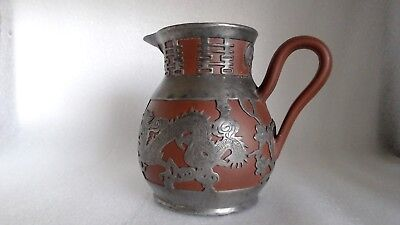 Antique Chinese Export Yixing Clay Pewter Dragon Copper Eyes Overlay C1900