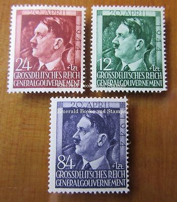EBS Generalgouvernement 1944 Hitler's 55th Birthday set Michel 117-119 MNH**