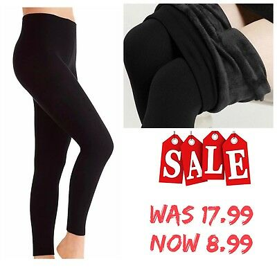 New Ladies Winter Warm Thick High Waist Tummy Control Fleece Leggings Plus Size