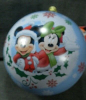 Disney Mickey Minnie Mouse Large Ball Ornament Tin Holiday Collectible