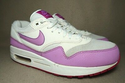 finest selection a2533 29a84 NIKE AIR MAX 1 ESSENTIAL Womens White Fuchsia Glow Casual Trainers UK 6  EU
