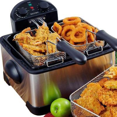 Secura 1700-Watt Stainless-Steel Triple Basket Electric Deep Fryer with...