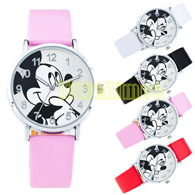 New Mickey Mouse Leather Wrist Watch Lady Girl Women Teens Kids Cartoon Watches