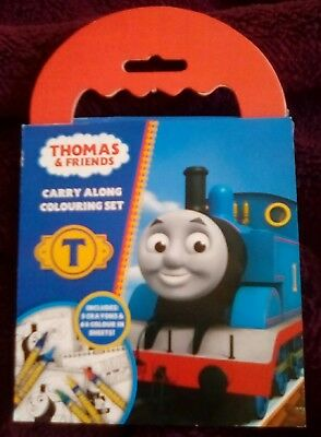 Thomas and Friends Carry Along Colouring Set (Pad+crayons) Activity Kids - NEW
