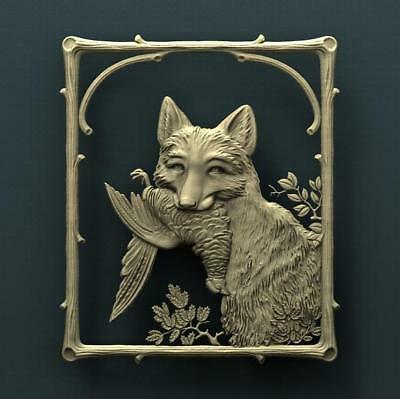 """3D STL Model Relief for CNC Router Aspire Artcam - """"Fox Hunting"""""""