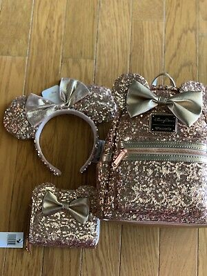 Disney Parks Minnie Mouse Rose Gold Ears Sequined Loungefly Backpack BUNDLE. HTF