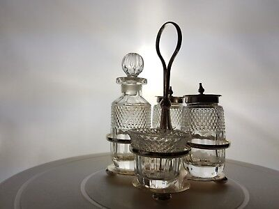 Silver Plated Cruet set no cracks or chips in glassware