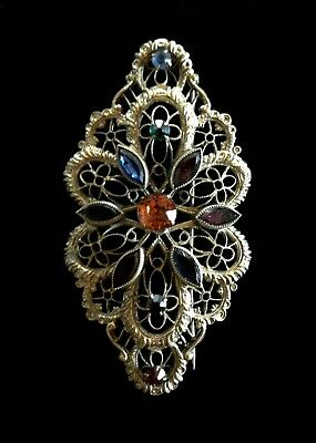Antique Vintage Pin Brooch Antique Brass Floral Filigree Multi-Colored Stones