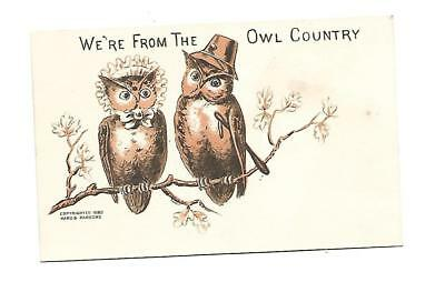 We're From the Owl Country Hard & Parsons Hats No Advertising Vict Card c1880s