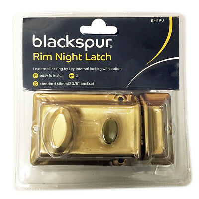 Brass Front Door Lock | Night Latch Rim | Yale Type Cylinder Standard Latch. NEW