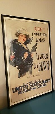 """Gee, I wish I was man!..."" Howard Chandler Christy WWI Poster"