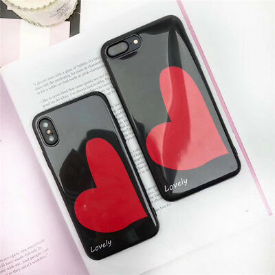 TPU Silicone Lovers Heart Ins Simple Phone Case Cover For iPhone X 8 7 6 Plus