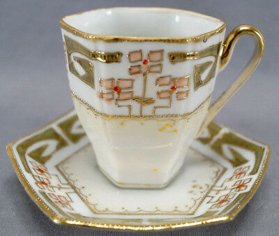 Nippon Hand Painted Art Deco Peach Floral Green & Gold Chocolate Cup & Saucer