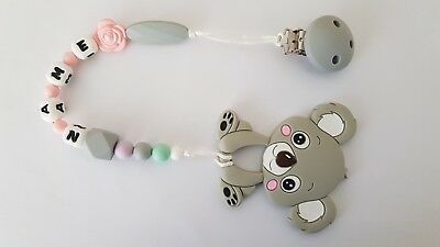 Silicone Koala Dummy Pacifier Teether Chain with Clip Any Name Christmas Gift
