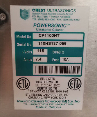 Crest Ultrasonic Parts Washer-Cleaner CP1100-HT