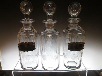 Set of Three Matching Antique 19th Century Hand Blown Etched Glass  Decanters