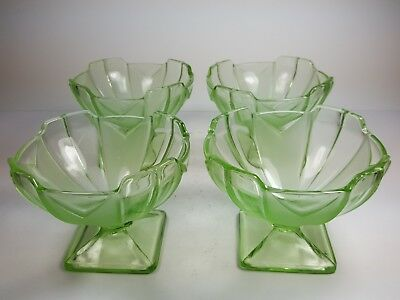 Vintage Set Of Four Green Pressed Glass Bowls / Sundae Dishes - Art Deco Styling