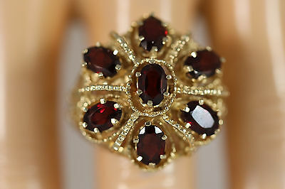 Heavy 9.60G Wide Vintage 14K Yellow Gold Rope Byzantine Garnet Bohemian Ring Sz6