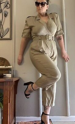 VTG 80s 90s Westbound One Piece Belted Windbreaker Jumpsuit Low Cut Shimmer Tan